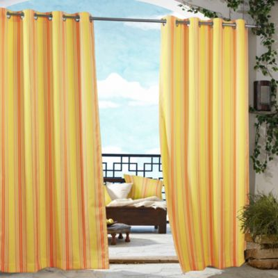 Commonwealth Home Fashions Gazebo Striped 84-Inch Outdoor Curtain in Orange
