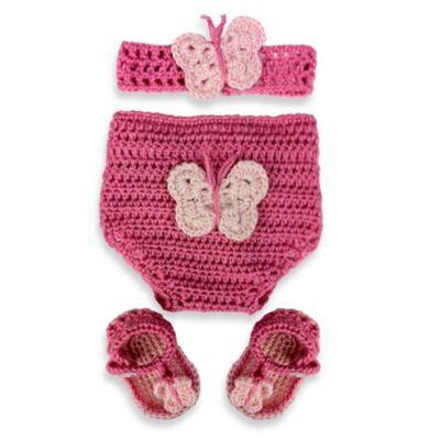 So 'dorable Pink Butterfly 3-Piece Crochet Set