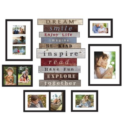 WallVerbs™ 7-Piece Stacked Sentiment Box Frame Set in Black