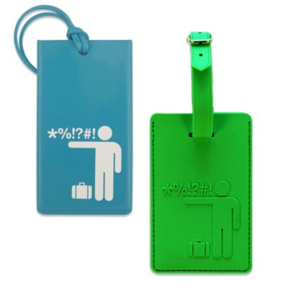 Flight 001 Obscenity Man Luggage Tag in Blue