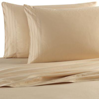 Barbara Barry Dream Satin Tux Queen Sheet Set in Sand