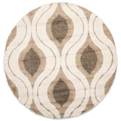 Safavieh Florida Shag Collection Beige and Creme Jasper 5-Foot 3-Inch x 7-Foot 6-Inch Rectangle Rug