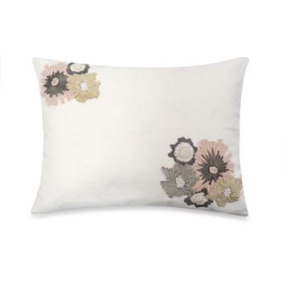 DKNYpure Pure Indulge Floral Oblong Throw Pillow in White