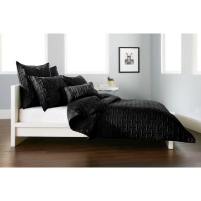 DKNY Crosstown Standard Pillow Sham in Black