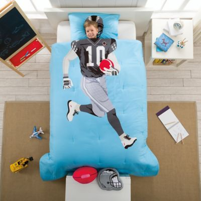 Football Reversible Full Comforter Set in Blue