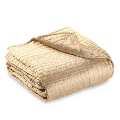 Vince Camuto Crocodile King Coverlet in Gold