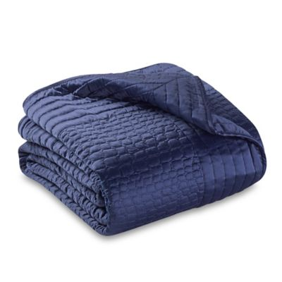 Vince Camuto Crocodile Full/Queen Coverlet in Navy