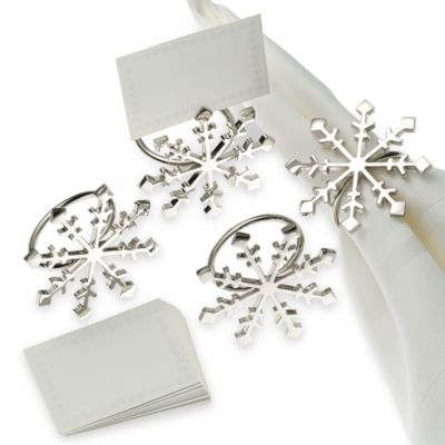 Snowflake Napkin Ring and Place Card Holder (Set of 4)