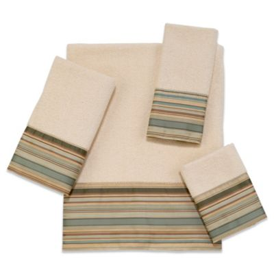 Avanti Maxfield Stripe Washcloth in Ivory