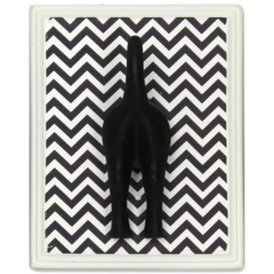 5-Inch x 6-Inch Dog Tail Wall Hook Plaque on Chevron Print