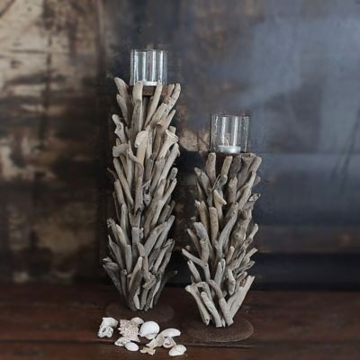 14-1/2-Inch Driftwood Candle Holder