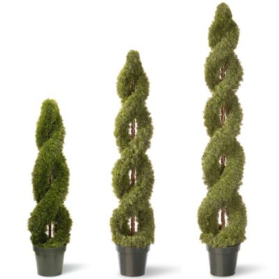 National Tree 72-Inch Double Cedar Spiral Plant with Green Pot