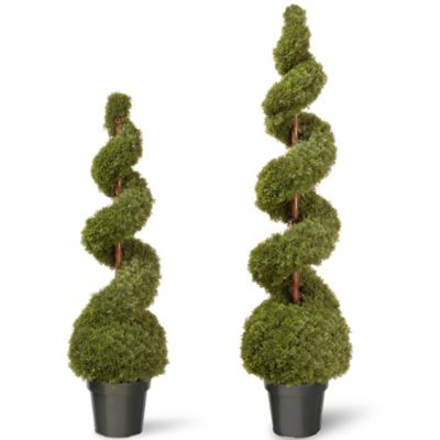 National Tree 48-Inch Cedar Spiral Ball Plant with Green Pot