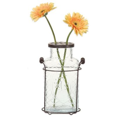 10.5-Inch Metal and Glass Vase