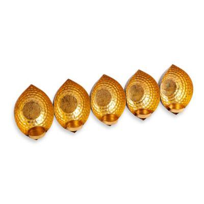Florence 5-Tealight Gold Foil Centerpiece