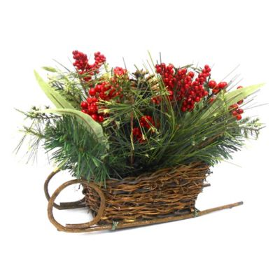 10-Inch Floral Sleigh with Berries