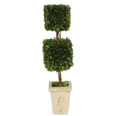 Sage Floral Boxwood Double Square Topiary