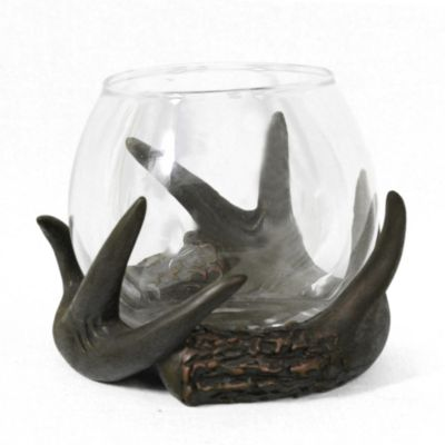 Antler and Glass Globe Tealight Holder