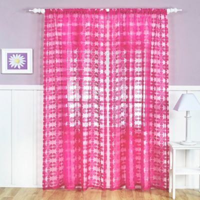 Flower Power Sheer Rod Pocket 84-Inch Window Curtain Panel in Bright Pink