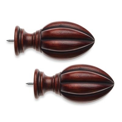 Cambria® Classic Wood Fluted Finial in Cherry (Set of 2)