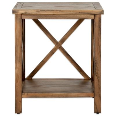 Safavieh Candace Cross-Back End Table in Grey