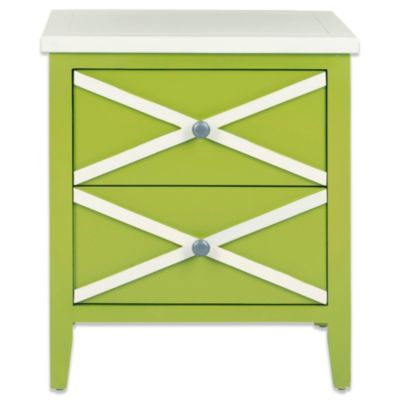 Safavieh Sherrilyn 2-Drawer Side Table in Light Blue/White