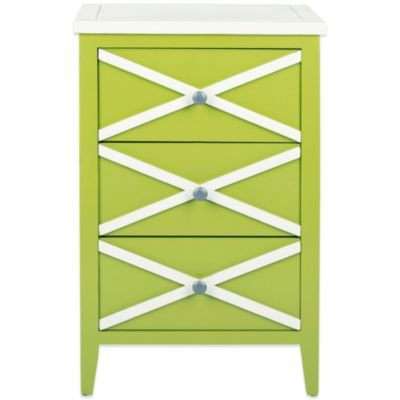 Safavieh Sherrilyn 3-Drawer Side Table in Green/White