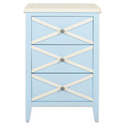 Safavieh Sherrilyn 3-Drawer Side Table in Light Blue/White