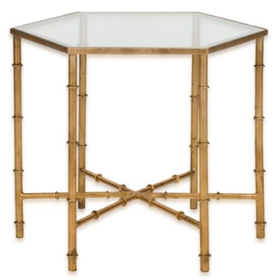Safavieh Kerri Accent Table in Gold/Clear