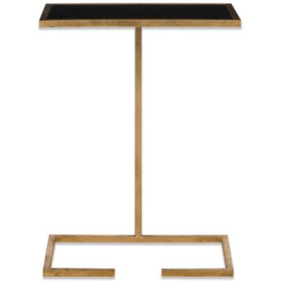 Safavieh Neil Accent Table in Gold with Black Glass