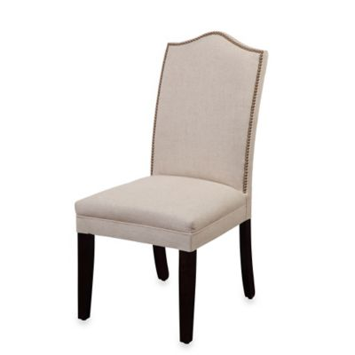 Bassett Mirror Company Camelback Linen Nailhead Parsons Dining Chairs in Natural (Set of 2)