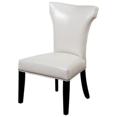 Bassett Mirror Company Nelson Shaped Nailhead Parsons Dining Chair in Ivory