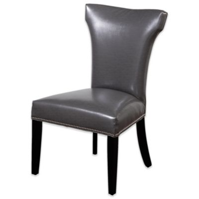 Bassett Mirror Company Nelson Shaped Nailhead Parsons Dining Chair in Grey