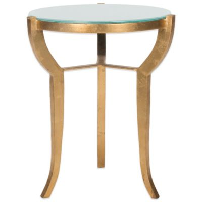 Safavieh Ormond Accent Table in Gold/White