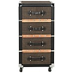 Safavieh Brent 4-Drawer Rolling Chest in Black/Silver/Brown