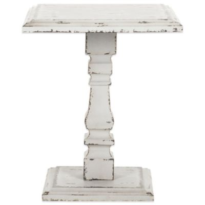 Safavieh Angela Pedestal Side Table in Antique White