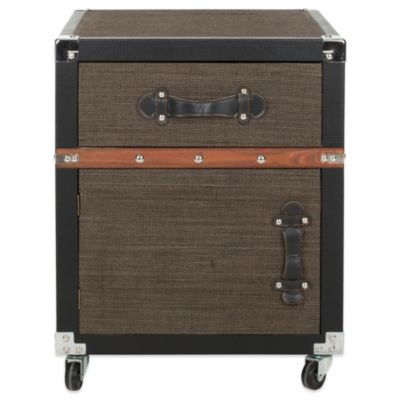 Safavieh Joel Rolling Chest in Black/Brown/Silver