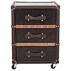 Safavieh Norman 3-Drawer Rolling Chest in Black/Brown