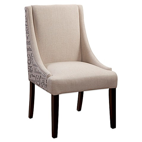 Bassett Mirror Company Woodward Linen Dining Chair in Script Print