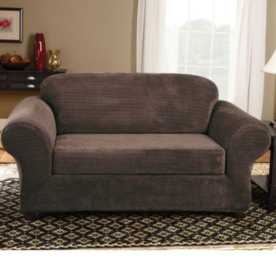 Sure Fit® Stretch Royal Diamond 2-Piece Loveseat Slipcover in Chocolate