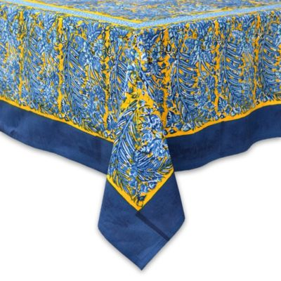 Couleur Nature Bougainvillea 90-Inch Round Tablecloth in Yellow/Blue
