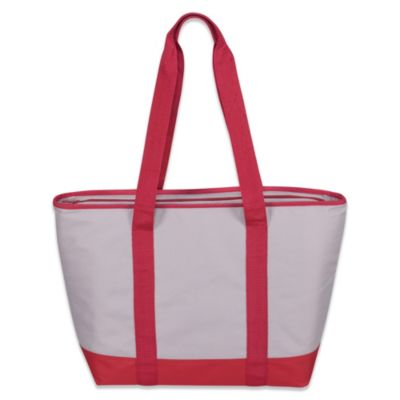Insulated Tote Bag in Red/Flax
