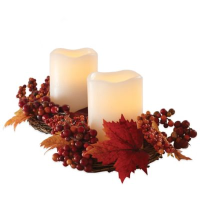 Loft Living Harvest Wreath Centerpiece with Flameless Pillar Candles (Set of 2)