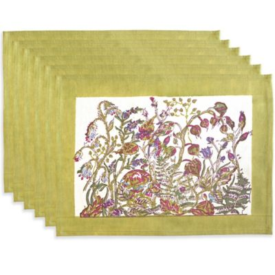 Couleur Nature Petite Fleur Placemats in Green (Set of 6)