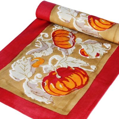 Couleur Nature Pumpkin 90-Inch Table Runner in Red/Green