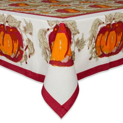 Couleur Nature Pumpkin 59-Inch x 59-Inch Square Tablecloth in Red/Green