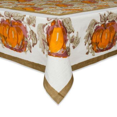 Couleur Nature Pumpkin 71-Inch x 128-Inch Tablecloth in Orange/Green