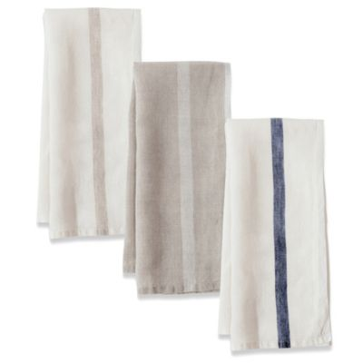 Couleur Nature Laundered Linen Towels in White/Natural (Set of 2)