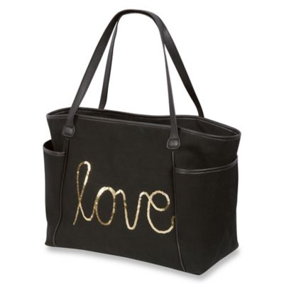 Buzz by The Bumble Collection™ LOVE Linen Sequin Diaper Bag in Black