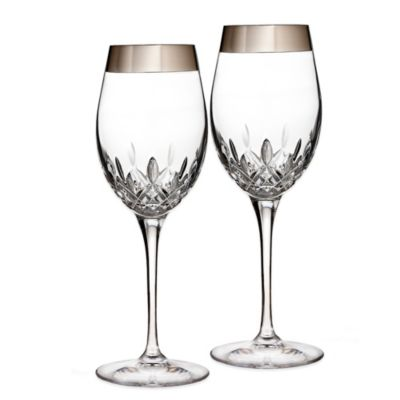 Waterford® Lismore Essence Platinum Wide Band Wine Glass (Set of 2)